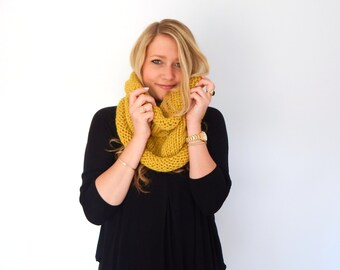 Chunky Knit Crochet Scarf - Knit Cowl - Knit Neck Warmer - Snood - THE COMMUTER - Citron Mustard Rolled Neck Soft Wool Blend