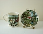 Vintage Johnson Brothers Mug and Coaster Plate, Mismatched Pair, The Friendly Village, Ice House Mug and Stonewall Coaster, Made in England