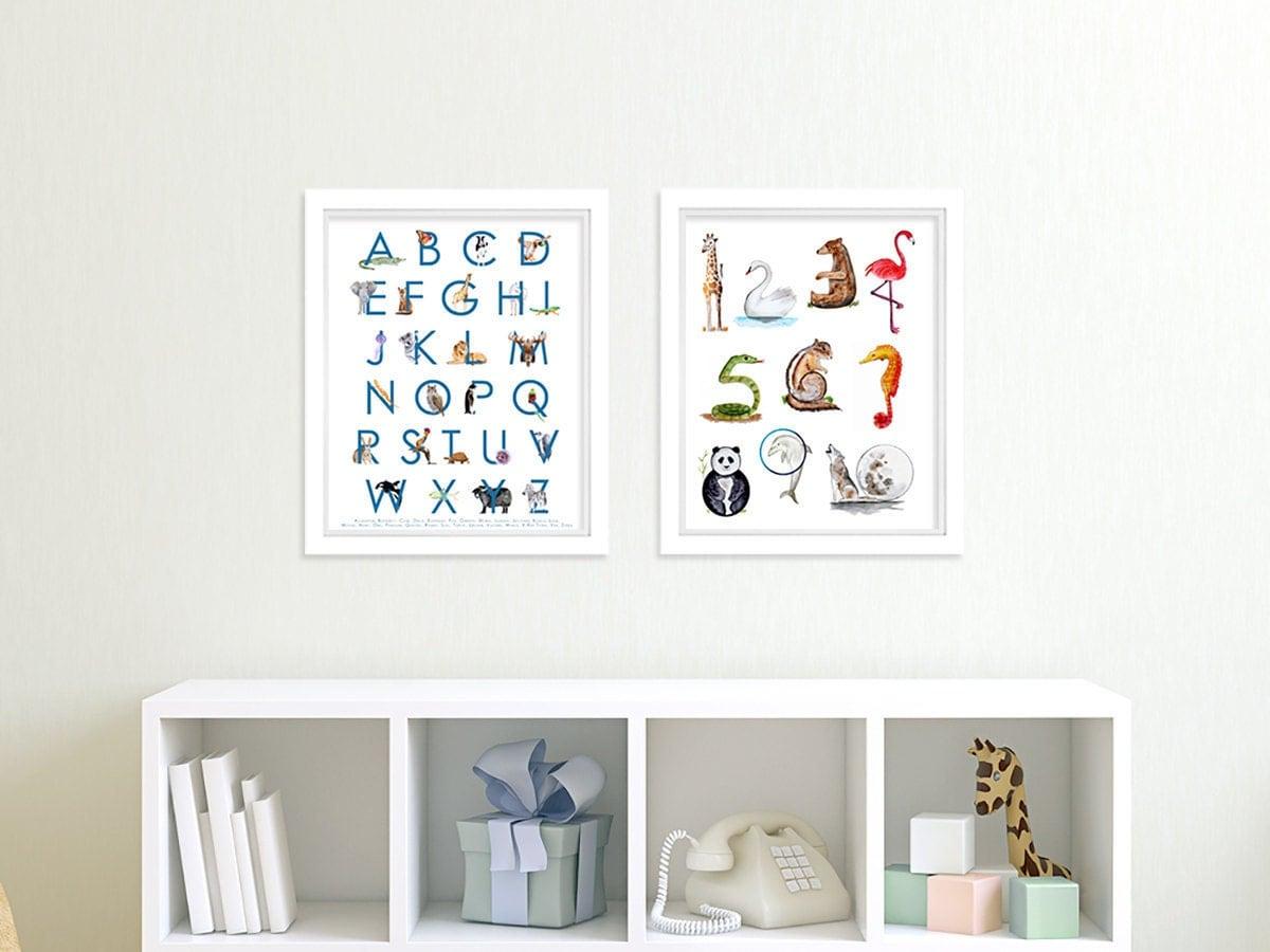Nursery Art Prints Number And Alphabet Wall Art Animal