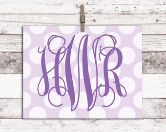 Monogram wall decor - lavender nursery art - purple girls room wall art - baby monogram print - little girls room decor
