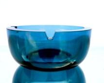 Mod Mid-Century Blue Grey Art Glass Ashtray