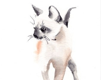 Original Watercolor Painting of Kitten, Cat Art, Watercolour Art