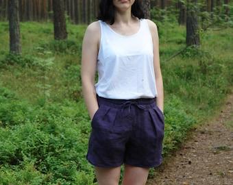 Womens linen shorts, womens shorts, linen clothing, womens linen clothing, tie waist shorts, CollectionWN