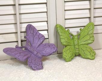 Butterfly Wall Decor, 3D Butterfly Wall Hanging, Cast Iron Butterflies Nursery Wall Decor, Lilac Purple Green Distressed, Set of 2