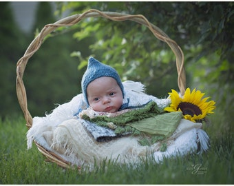Newborn bonnet hat / baby boy bonnet hat / photography prop newborn baby / hats for boys / newborn knitted baby hat /  newborn hats