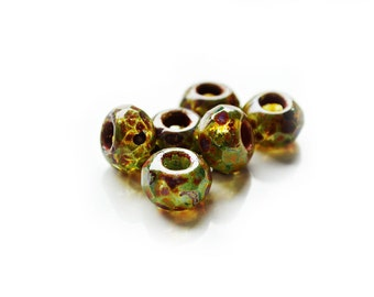 AMBER MOSS Large Hole Czech Glass Beads 8x12mm