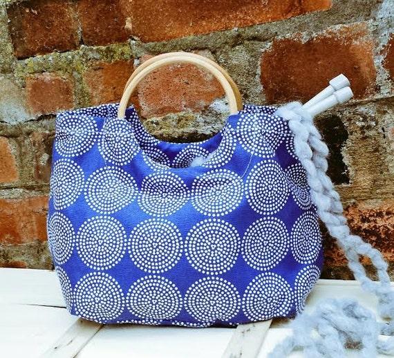 Crochet Project Bag : MANDALA KNITTING BAG Blue crochet project bag retro fabric wooden ...