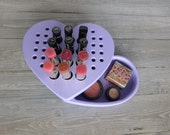 SALE - Makeup organizer in a heart shape - makeup storage - bathroom storage - lipstick holder -makeup case - purple lilac make up box