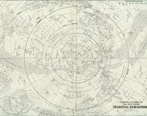 Antique Celestial Map of the Southern Hemisphere C. 1891 Astronomy Star Chart  Astrology Zodiac Planets