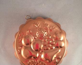 Vintage Copper Jello Mold Fruit Design