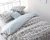 Grey Tulip Patterned Twill Cotton Twin / Queen / King Size Bedding Set