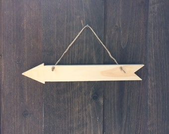 Hanging arrow sign, rustic wedding sign, direction sign rustic wedding decor arrow wall hanging arrow party decor wood arrow sign chalkboard