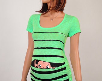 Maternity, Maternity clothes, Maternity Clothing, Maternity Shirt, Baby Pregnancy MATERNITY Shirt, Peekaboo, Peek a boo, Baby Peeking GREEN