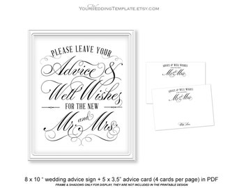 Classic elegant Wedding advice sign| Advice for the bride and groom| Wedding signs| Instant download| Print at home| Uneditable| FS1
