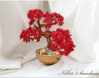 "Wire Beaded Red Artificial Feng shui Tree bonsai ""Autumn in Japan"""