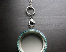 Large Blue Crystal-Faced Floating Locket-Stainless Steel-Option to Add Chain-Gift Idea for Women
