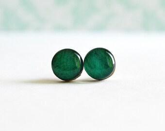 Emerald green stud , dark green stud , teal stud , dark teal stud , emerald green post , dark green post , teal post , dark teal post