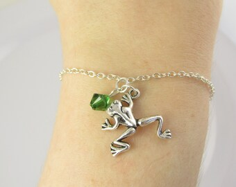 Frog Bracelet- choose a birthstone, Frog Jewelry, Frog Charm Bracelet, Frog Gift, Frog Charm, Silver Frog Bracelet, Frog Bead Bracelet, Frog