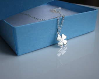 Good luck gift, Farewell gift, Leaving gift, Sterling silver Four leaf clover necklace, Personalised Gift, Best friend gift
