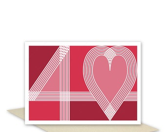 Ruby 40th wedding anniversary card handmade 40 & heart typography ruby red blank or optional personalised message inside for husband wife