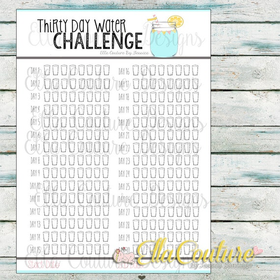 Thirty Day Water Challenge Planner Tracker (Instant Download ...