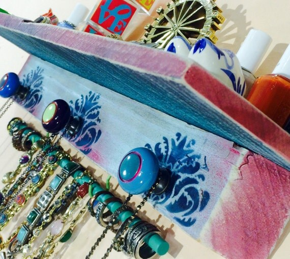 Floating shelves wall jewelry holder shelf accent shelving /reclaimed pallet wood hanger stenciled blue damask 3 knobs 2 hooks bracelet bar