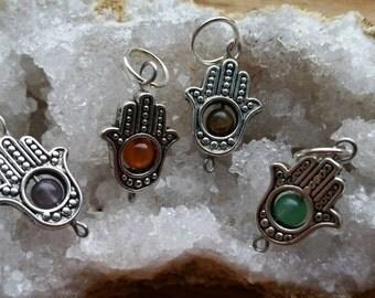 Hamsa organic cotton choker || custom gemstone / birthstone | small, medium, large, plus size chokers | protective lucky charm | crystals