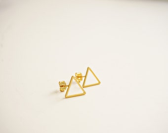 Matte Gold Delicate Triangle Stud Post Earrings