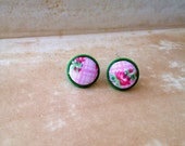 Trendy, Vintage Style, Floral Decoration Small, Fabric button, cute, Pink & Green Stud Earrings - Great Romantic / Spring Statement Gift