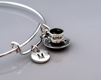 Tea cup and saucer bangle, tea cup bracelet, coffee cup, Expandable bangle, Personalized bracelet, Charm bangle, Monogram, Initial bracelet