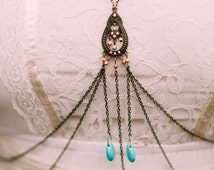 Bohemian Body Chain, festival jewelry harness // the Miri body chain in antiqued bronze, gold, and turquoise