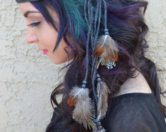 Feather Headband - Feather Hairpiece - Natural Feathers - Festival Headband - Hippie Headband - Hair Accessories - Bohemian - Tribal