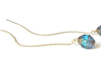 Gold Threader Earrings, Ear Thread Earrings, Glass Beaded Blue Dangle Earrings, Gold Dangle Earrings, Gold Chain Earrings, Long Earrings