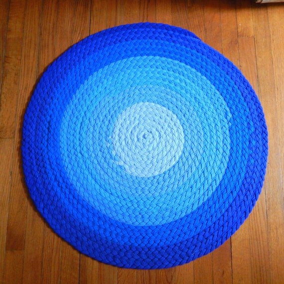 Ombré Blue Braided Rug Upcycled Tshirt Rug Kitchen By