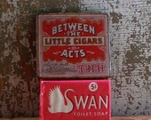 Vintage Advertising Cigar Tin - Between the Acts - with Swan Soap Bar - Flat Box - Tobacciana - Red and White - Cottage and Retro Decor
