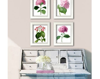 Valentines gift Pink Flowers Botanical Wall Art prints set of 4 Pink Hydrangea wall art Spring Decor,Housewarming Wedding Anniversary gift