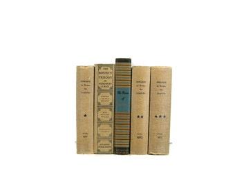 Tan Blue Vintage Books , Vintage Book Bundle , Book Decor , Decorative Books , Wedding Prop , Photo Prop , Vintage Books , Old Books