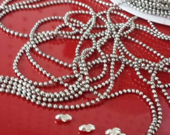 1.5mm Silver Plated Ball Chain Bulk Chain by Foot WholeSale Destash Clearance