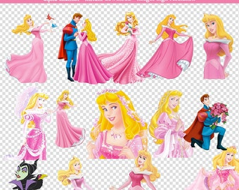 32 PNG Images Sleeping Beauty-High Resolution-Instant Download