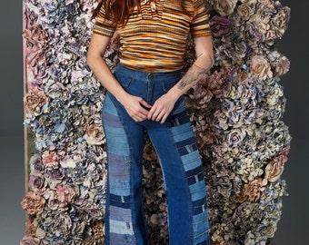 70s Orange Striped Knit Sweater