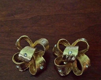 "vintage bow brushed gold with rhinestones  clip earrings  signed ""Coro"""