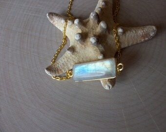 Rainbow Moonstone Necklace/Rainbow Moonstone Bar Pendant/High Blue Flash Rainbow Moonstone Necklace/Different Moonstone Bar Necklace/BA002