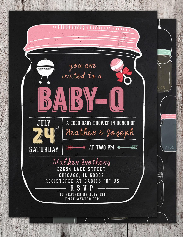 baby q invitation babyq baby shower invitation backyard bbq