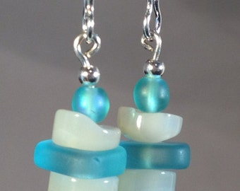 Recycled glass & Mother of Pearl earrings