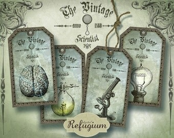 Steampunk Tags the vintage scientist, Digital Collage Sheet, Instant Download,printable images
