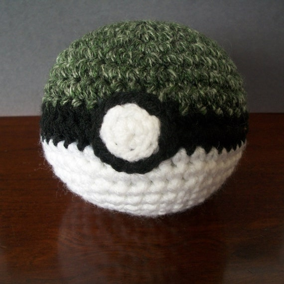 Close Amigurumi Ball : Pokemon Safari Ball Amigurumi Pokeball Soft Plush by CroChels
