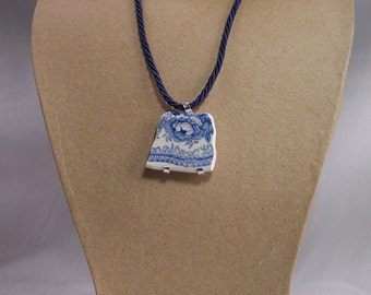 Old blue China pendant rose pattern recycled broken plate