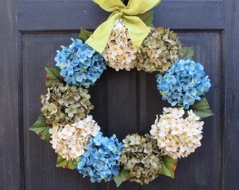 Hydrangea Wreath for Spring, Summer Wreath, Spring Wreath, Front Door Wreath, Spring Hydrangea Wreath, Spring Door Decor, Spring Door Wreath