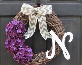 Initial Door Wreath with Purple Hydrangea, Wreath with Letter, Purple Wreath, Personalized Wreath, Purple Door Wreath, Front Door Initial