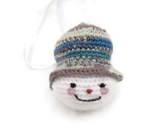 Crochet Snowman Decoration Hanging Christmas Tree Ornament Traditional Xmas Handmade Christmas Vintage Decoration Ready to Ship